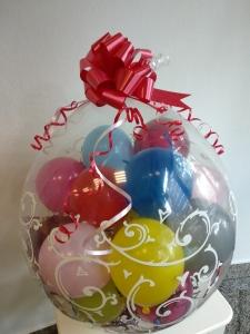 Balon botez (cu baloane mici, bomboane si mini-ursulet) - 38lei
